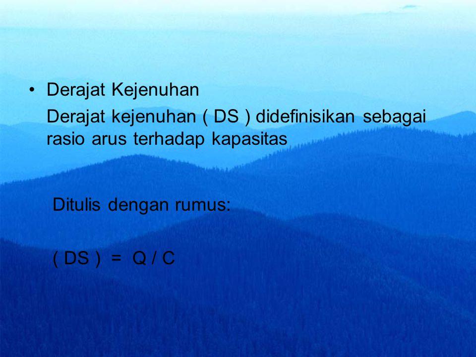 Derajat Kejenuhan Derajat kejenuhan ( DS ) didefinisikan sebagai rasio arus terhadap kapasitas Ditulis dengan rumus: ( DS ) = Q / C
