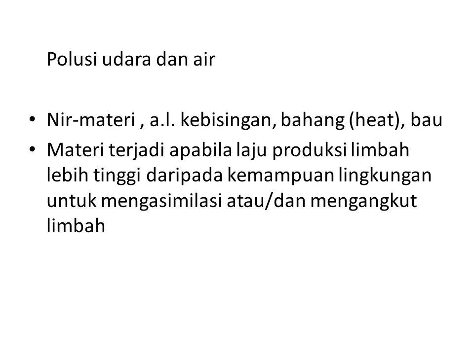 Polusi udara dan air Nir-materi, a.l.