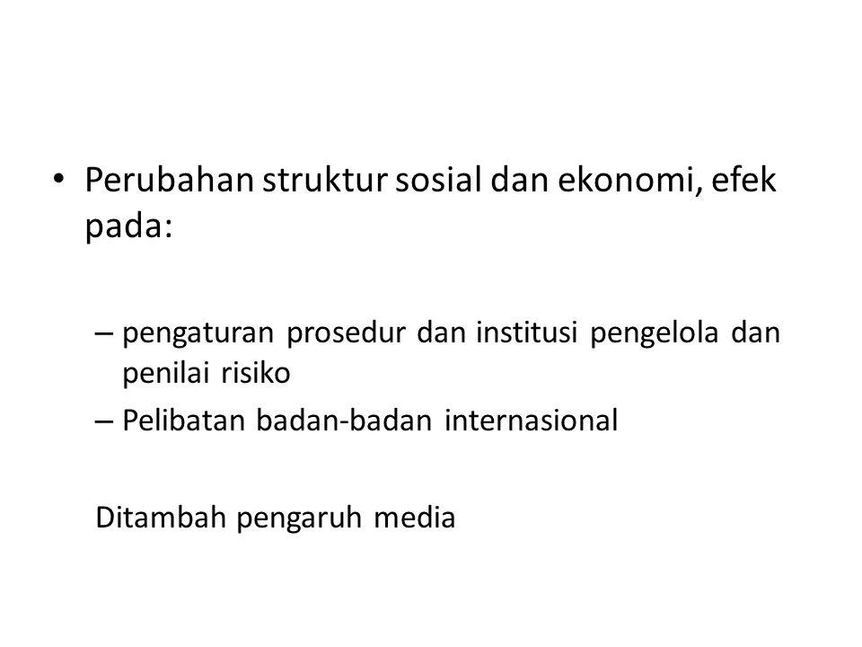 Perubahan struktur sosial dan ekonomi, efek pada: – pengaturan prosedur dan institusi pengelola dan penilai risiko – Pelibatan badan-badan internasional Ditambah pengaruh media