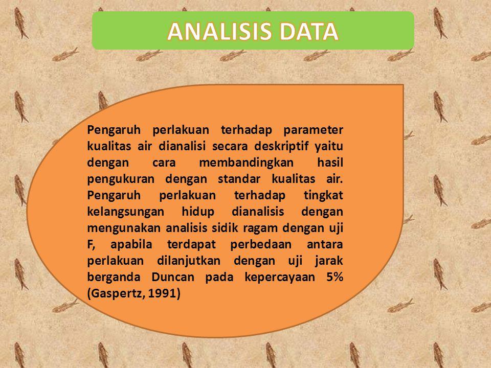 Pengaruh perlakuan terhadap parameter kualitas air dianalisi secara deskriptif yaitu dengan cara membandingkan hasil pengukuran dengan standar kualita