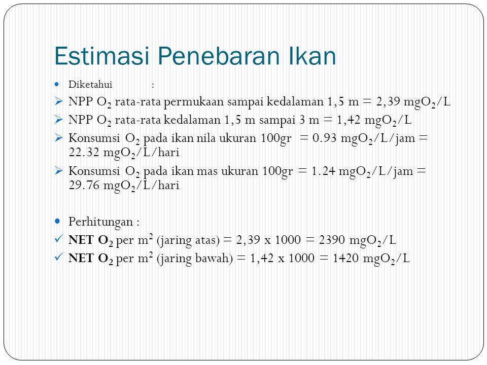 Estimasi Penebaran Ikan Diketahui:  NPP O 2 rata-rata permukaan sampai kedalaman 1,5 m = 2,39 mgO 2 /L  NPP O 2 rata-rata kedalaman 1,5 m sampai 3 m