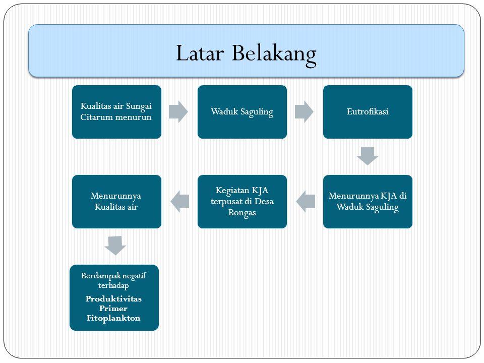Identifikasi Masalah Permasalahan yang diidentifikasi dalam penelitian ini adalah sejauh mana nilai produktivitas primer fitoplankton di Waduk Saguling khususnya Desa Bongas, Kecamatan Cililin, Bandung, Jawa Barat dalam kaitannya dengan kegiatan perikanan budidaya.