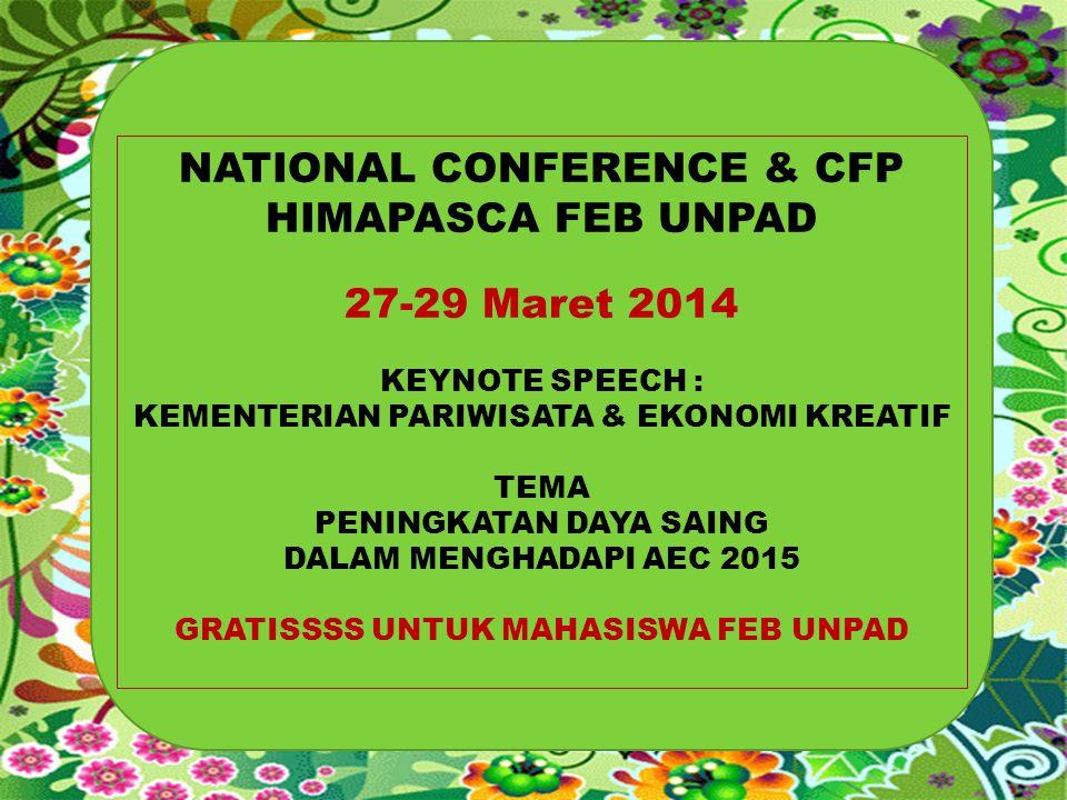 NATIONAL CONFERENCE & CFP HIMAPASCA FEB UNPAD 27-29 Maret 2014 KEYNOTE SPEECH : KEMENTERIAN PARIWISATA & EKONOMI KREATIF TEMA PENINGKATAN DAYA SAING D