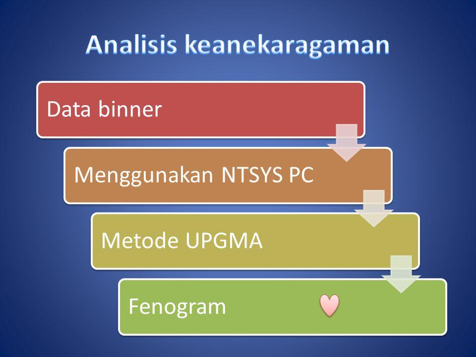 Data binnerMenggunakan NTSYS PCMetode UPGMAFenogram