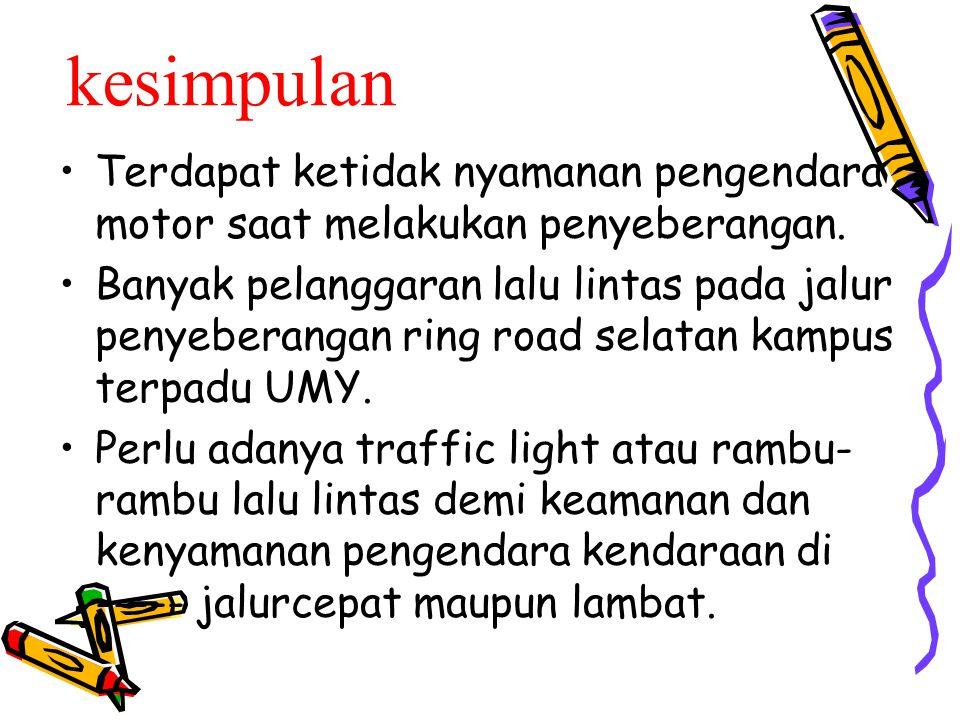 kesimpulan Terdapat ketidak nyamanan pengendara motor saat melakukan penyeberangan. Banyak pelanggaran lalu lintas pada jalur penyeberangan ring road