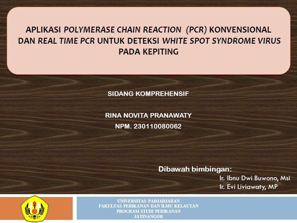 SIDANG KOMPREHENSIF RINA NOVITA PRANAWATY NPM. 230110080062 APLIKASI POLYMERASE CHAIN REACTION (PCR) KONVENSIONAL DAN REAL TIME PCR UNTUK DETEKSI WHIT