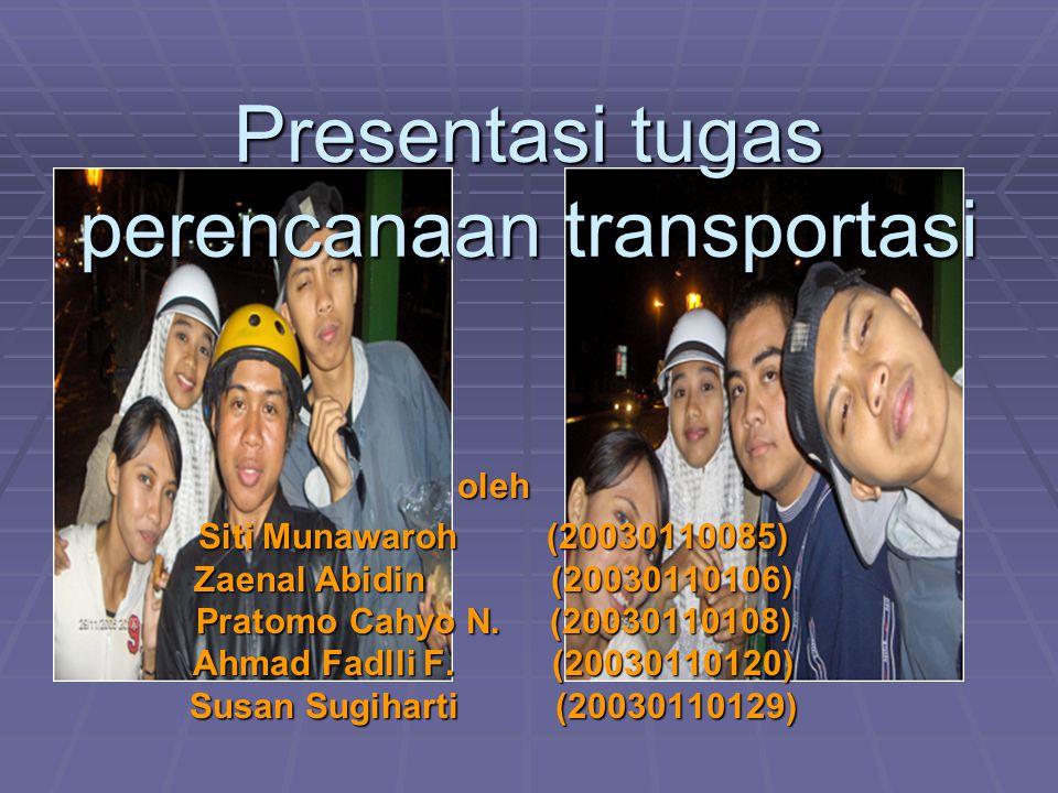 Presentasi tugas perencanaan transportasi oleh Siti Munawaroh (20030110085) Zaenal Abidin (20030110106) Pratomo Cahyo N. (20030110108) Ahmad Fadlli F.