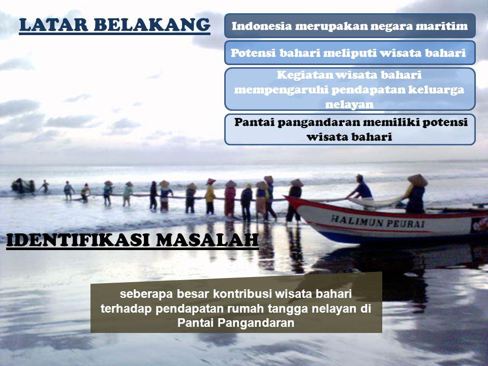 LATAR BELAKANG Indonesia merupakan negara maritim Potensi bahari meliputi wisata bahari Kegiatan wisata bahari mempengaruhi pendapatan keluarga nelaya