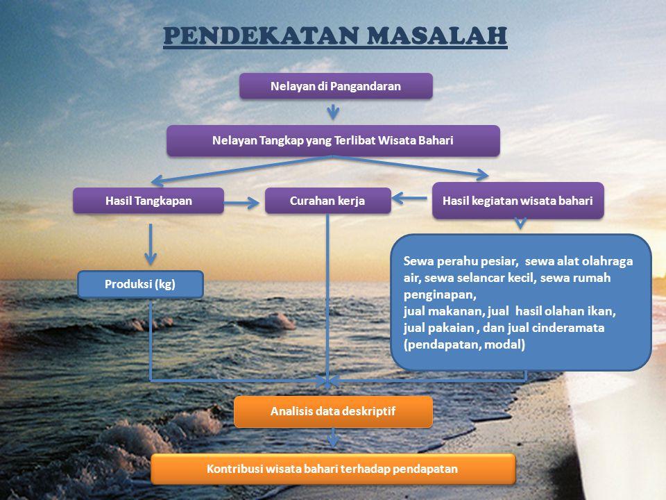 Nelayan di Pangandaran Nelayan Tangkap yang Terlibat Wisata Bahari Curahan kerja Hasil Tangkapan Hasil kegiatan wisata bahari Produksi (kg) Sewa perah