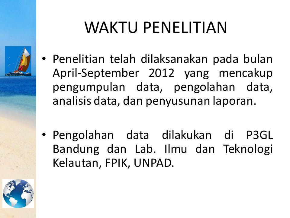 WAKTU PENELITIAN Penelitian telah dilaksanakan pada bulan April-September 2012 yang mencakup pengumpulan data, pengolahan data, analisis data, dan pen