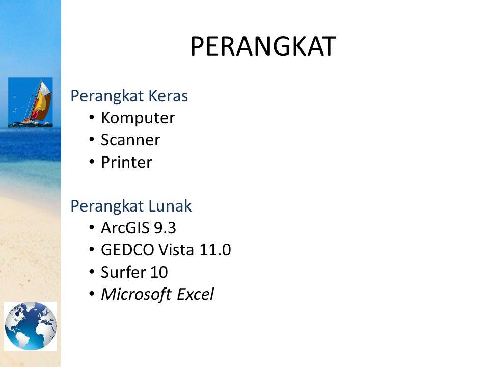 PERANGKAT Perangkat Keras Komputer Scanner Printer Perangkat Lunak ArcGIS 9.3 GEDCO Vista 11.0 Surfer 10 Microsoft Excel