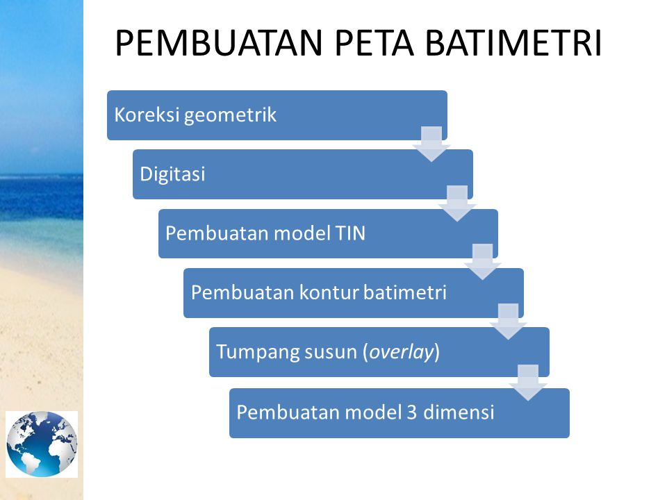 PEMBUATAN PETA BATIMETRI Koreksi geometrikDigitasiPembuatan model TINPembuatan kontur batimetriTumpang susun (overlay)Pembuatan model 3 dimensi