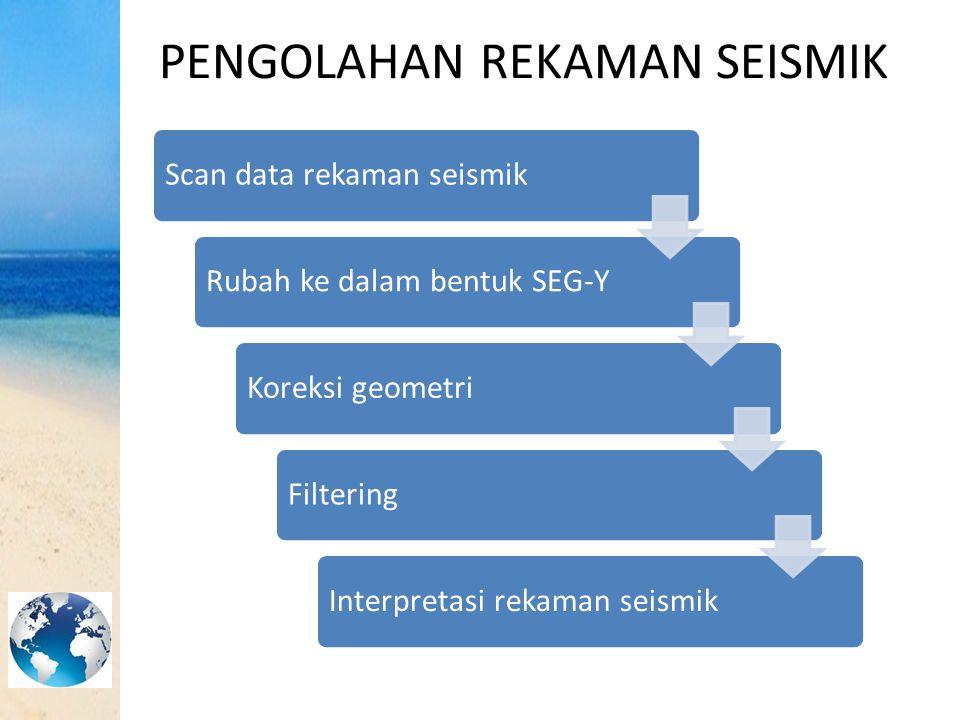 PENGOLAHAN REKAMAN SEISMIK Scan data rekaman seismikRubah ke dalam bentuk SEG-YKoreksi geometriFilteringInterpretasi rekaman seismik