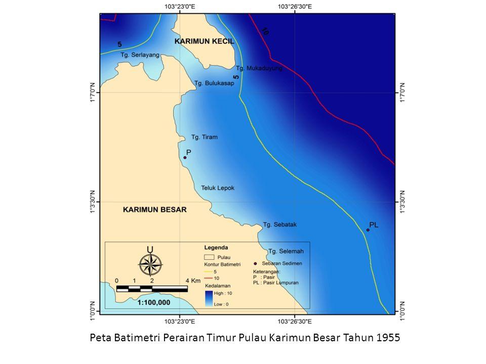 Peta Batimetri Perairan Timur Pulau Karimun Besar Tahun 1955