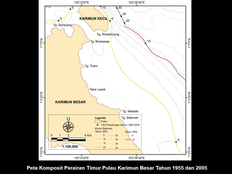 Peta Komposit Perairan Timur Pulau Karimun Besar Tahun 1955 dan 2005