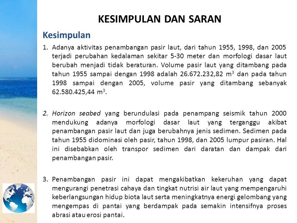 KESIMPULAN DAN SARAN Kesimpulan 1.Adanya aktivitas penambangan pasir laut, dari tahun 1955, 1998, dan 2005 terjadi perubahan kedalaman sekitar 5-30 me