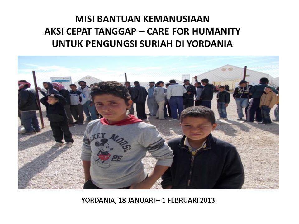 TRAGEDI KEMANUSIAAN SURIAH Korban Meninggal 70 ribu orang Pengungsi Suriah di Berbagai Negara : -Yordania : 342 ribu - Iraq : 80 ribu -Lebanon : 230 ribu -Afrika Utara : 20 ribu - Turki : 170 ribu ( Hampir 1 juta Pengungsi ) Sebagian Besar tinggal di Tenda2 Pengungsian, sebagian sebagai Urban Refugees Permasalahan : Pangan, Sandang,Papan,Pekerjaan,Kesehatan, Pendidikan, Sosial, Kejiwaan, dsb