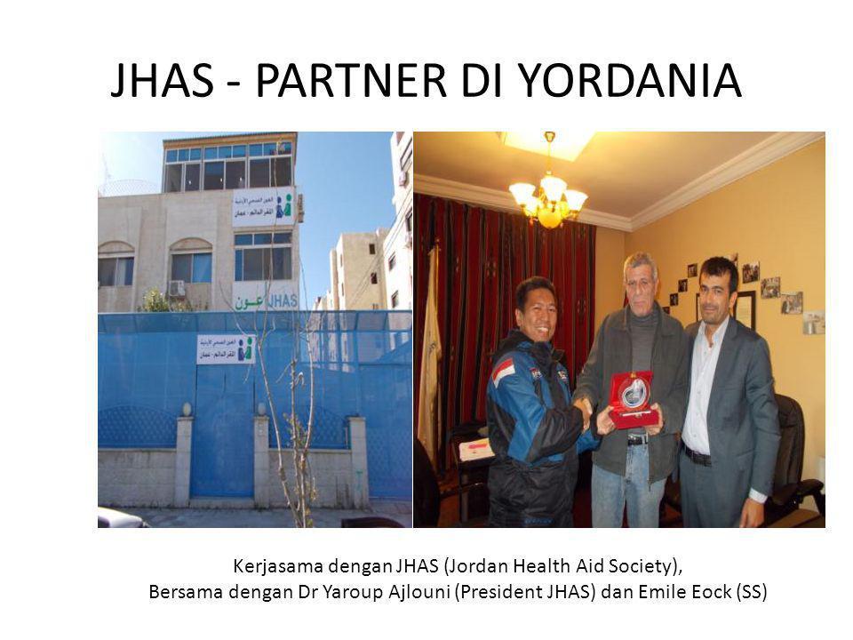 JHAS - PARTNER DI YORDANIA Kerjasama dengan JHAS (Jordan Health Aid Society), Bersama dengan Dr Yaroup Ajlouni (President JHAS) dan Emile Eock (SS)