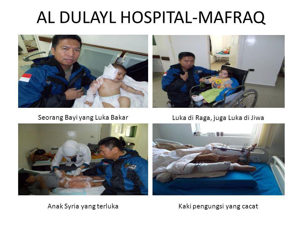 KONDISI RUMAH SAKIT Rumah Sakit merawat 80 pasien Inap Rumah Sakit menangani Pasien bayi hingga orang tua, laki-laki dan perempuan Rumah Sakit setiap hari menangani operasi besar pengungsi Suriah yang terluka Peralatan cukup lengkap, Bila tidak memadai akan merujuk pada rumah sakit pemerintah Rumah Sakit di kelola oleh JHAS