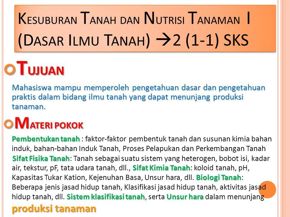 K ESUBURAN T ANAH DAN N UTRISI T ANAMAN I (D ASAR I LMU T ANAH )  2 (1-1) SKS T UJUAN Mahasiswa mampu memperoleh pengetahuan dasar dan pengetahuan pr