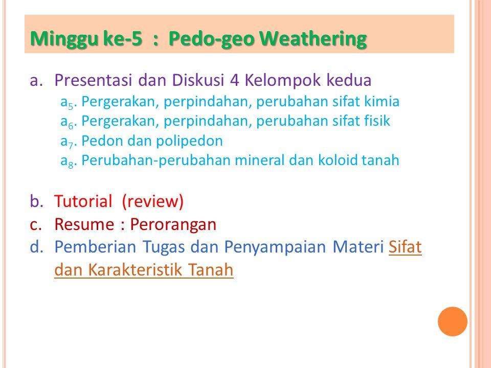 Minggu ke-5 : Pedo-geo Weathering a.Presentasi dan Diskusi 4 Kelompok kedua a 5. Pergerakan, perpindahan, perubahan sifat kimia a 6. Pergerakan, perpi