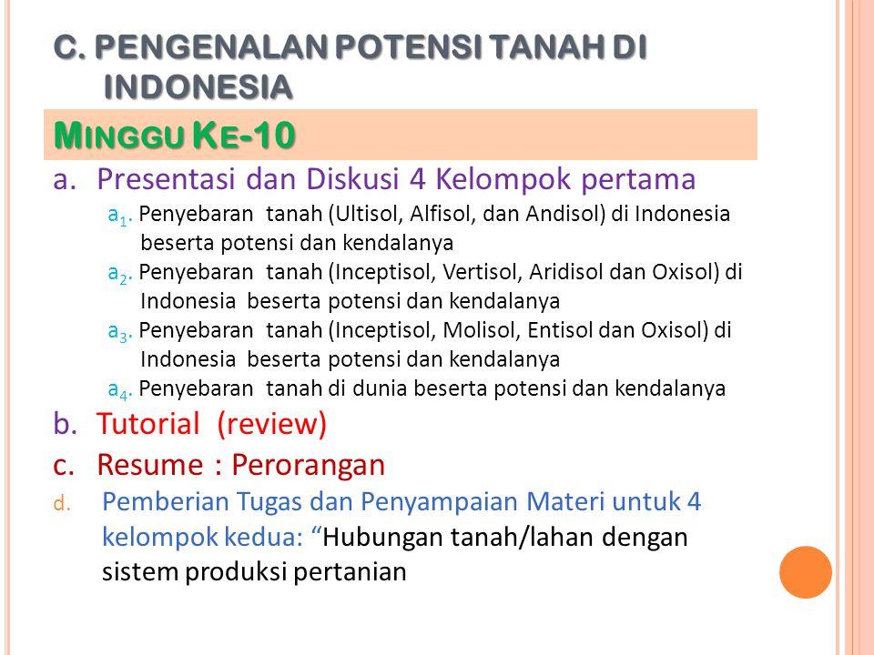 C. PENGENALAN POTENSI TANAH DI INDONESIA a.Presentasi dan Diskusi 4 Kelompok pertama a 1. Penyebaran tanah (Ultisol, Alfisol, dan Andisol) di Indonesi