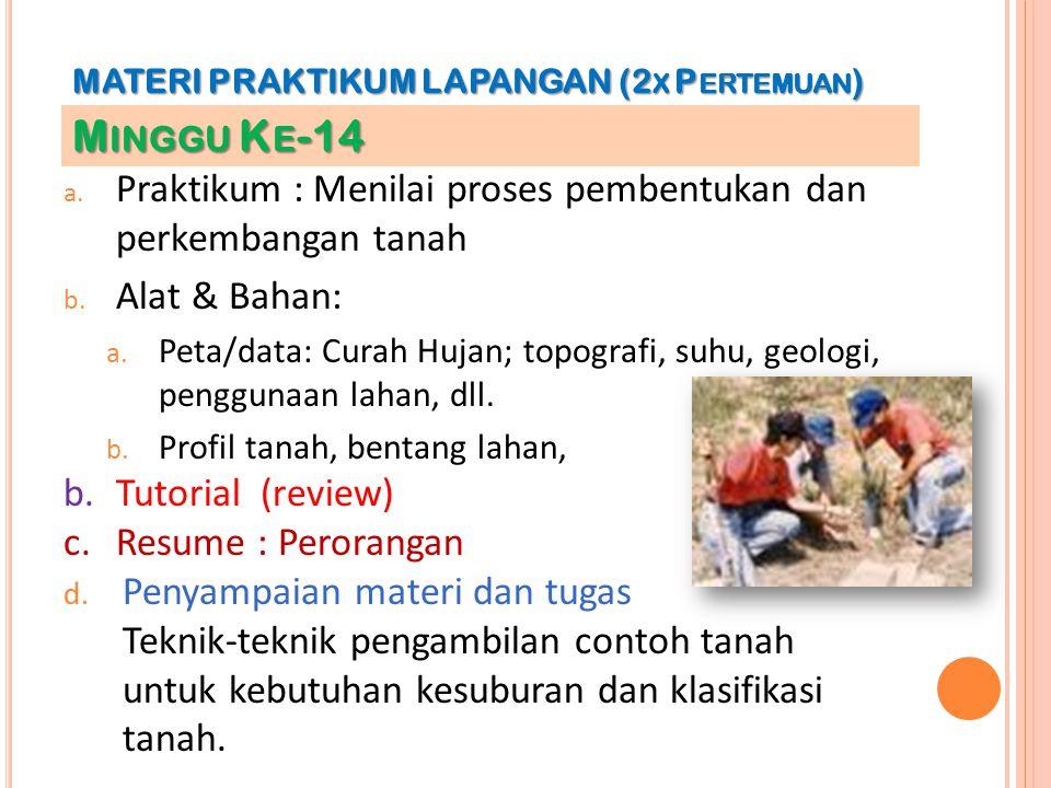 a. Praktikum : Menilai proses pembentukan dan perkembangan tanah b. Alat & Bahan: a. Peta/data: Curah Hujan; topografi, suhu, geologi, penggunaan laha