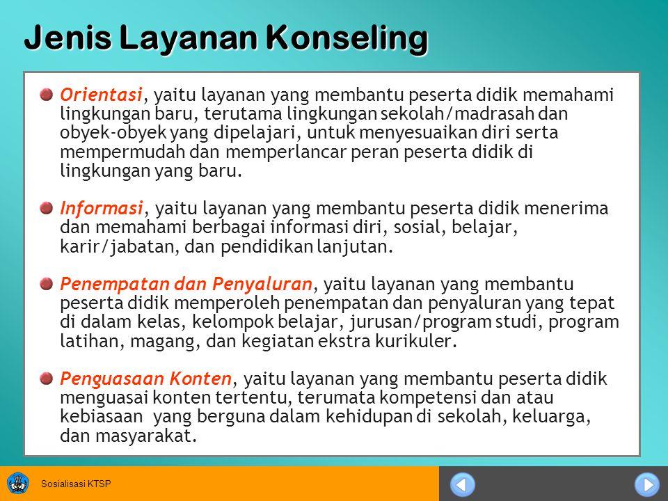 Sosialisasi KTSP Jenis Layanan (lanjutan …) Konseling Perorangan, yaitu layanan yang membantu peserta didik dalam mengentaskan masalah pribadinya.
