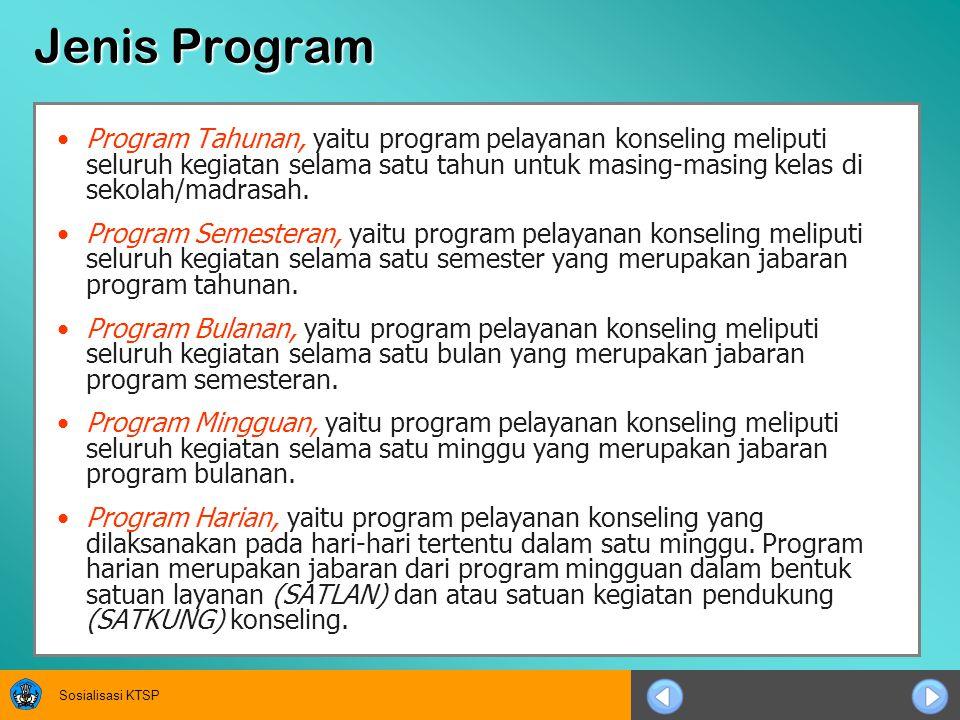 Sosialisasi KTSP Penyusunan Program Program pelayanan konseling disusun berdasarkan kebutuhan peserta didik (need assessment) yang diperoleh melalui aplikasi instrumentasi.