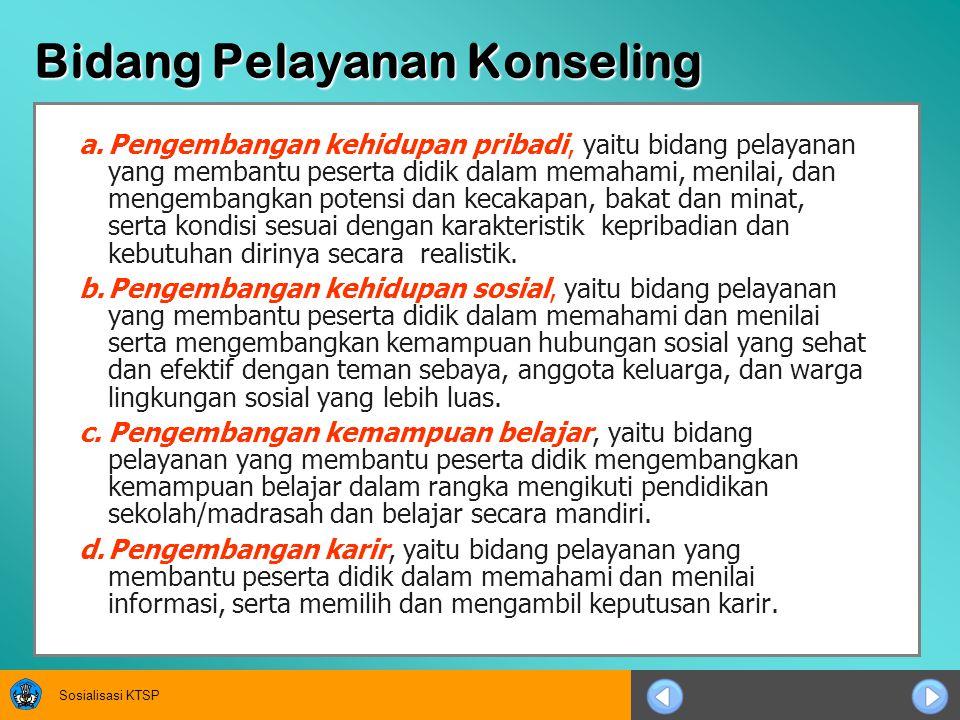 Sosialisasi KTSP Fungsi Bimbingan Konseling  Fungsi Pemahaman, yaitu fungsi untuk membantu peserta didik memahami diri dan lingkungannya.