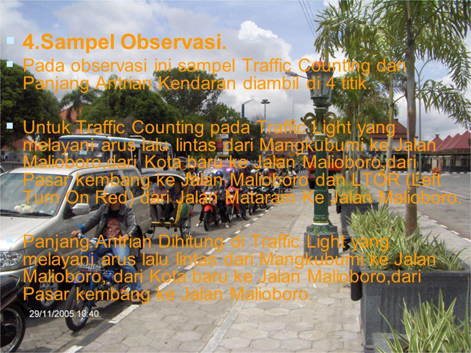   4.Sampel Observasi.   Pada observasi ini sampel Traffic Counting dan Panjang Antrian Kendaran diambil di 4 titik.   Untuk Traffic Counting pad