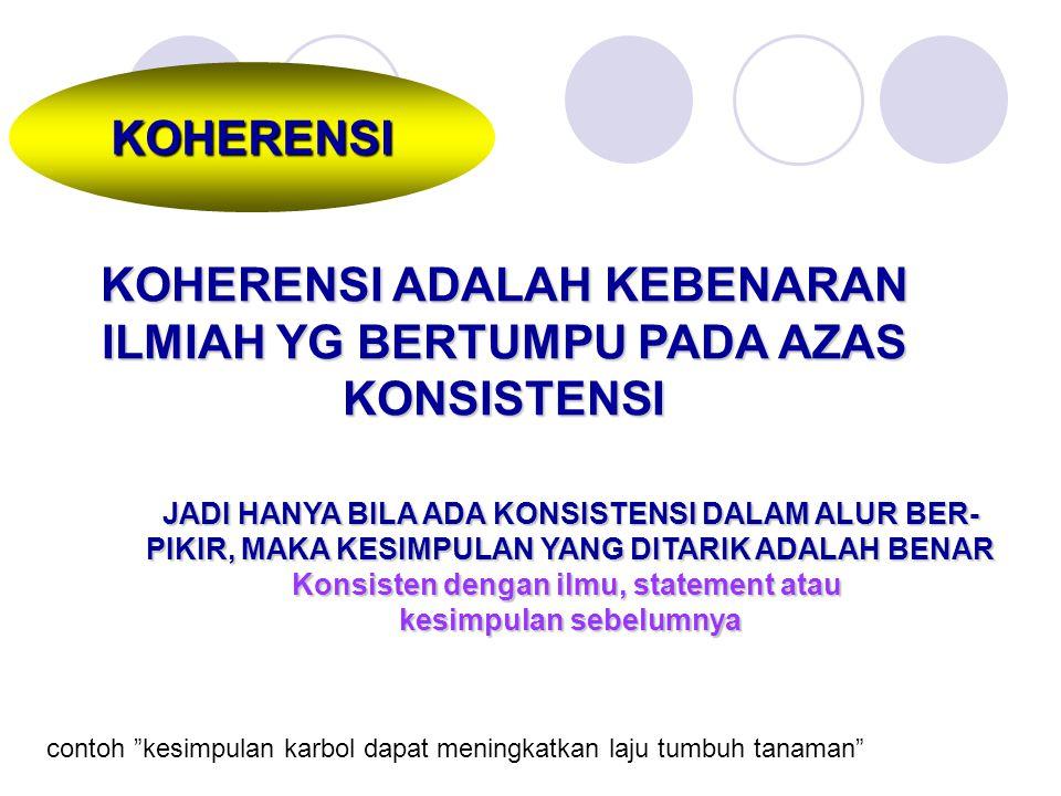 KOHERENSI KOHERENSI ADALAH KEBENARAN ILMIAH YG BERTUMPU PADA AZAS KONSISTENSI JADI HANYA BILA ADA KONSISTENSI DALAM ALUR BER- PIKIR, MAKA KESIMPULAN Y