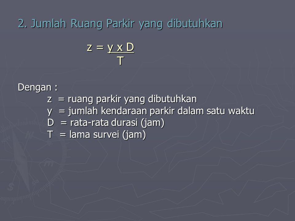2. Jumlah Ruang Parkir yang dibutuhkan z = y x D z = y x D T T Dengan : z = ruang parkir yang dibutuhkan y = jumlah kendaraan parkir dalam satu waktu
