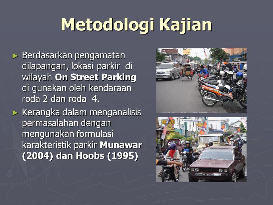 Metodologi Kajian ► Berdasarkan pengamatan dilapangan, lokasi parkir di wilayah On Street Parking di gunakan oleh kendaraan roda 2 dan roda 4. ► Keran