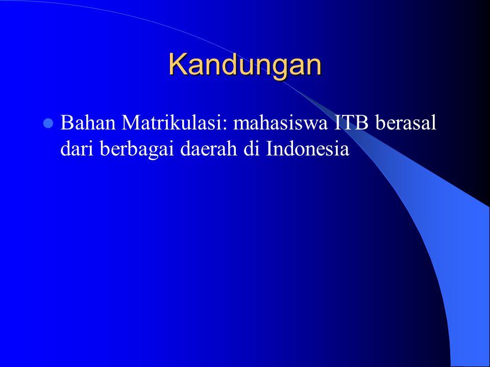 Kandungan Bahan Matrikulasi: mahasiswa ITB berasal dari berbagai daerah di Indonesia