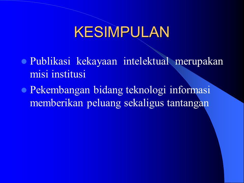 KESIMPULAN Publikasi kekayaan intelektual merupakan misi institusi Pekembangan bidang teknologi informasi memberikan peluang sekaligus tantangan
