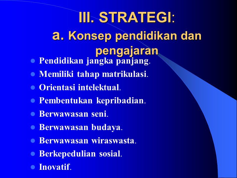 III. STRATEGI: a. Konsep pendidikan dan pengajaran Pendidikan jangka panjang.