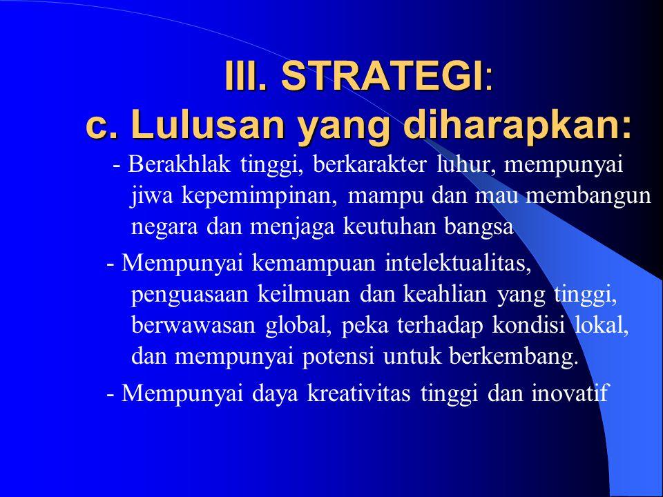 III. STRATEGI: c.
