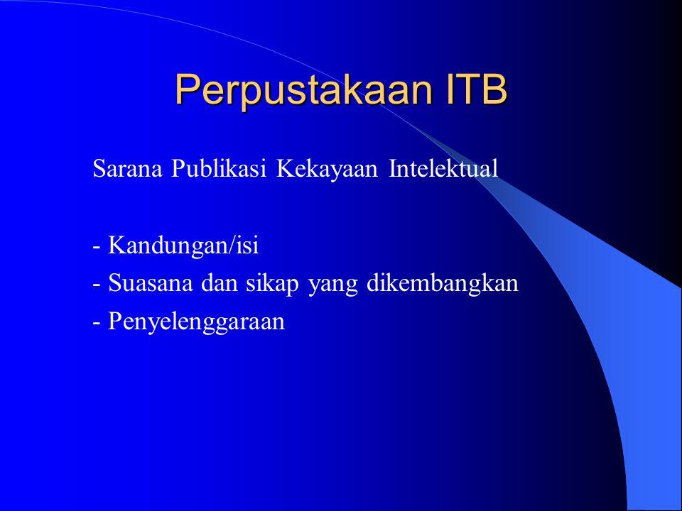 Perpustakaan ITB Sarana Publikasi Kekayaan Intelektual - Kandungan/isi - Suasana dan sikap yang dikembangkan - Penyelenggaraan