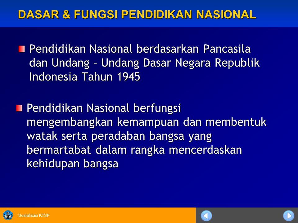 Sosialisasi KTSP DASAR & FUNGSI PENDIDIKAN NASIONAL Pendidikan Nasional berdasarkan Pancasila dan Undang – Undang Dasar Negara Republik Indonesia Tahu