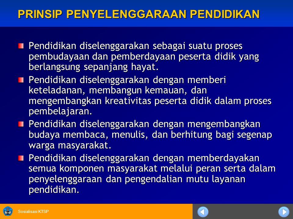 Sosialisasi KTSP Kerangka dasar dan struktur kurikulum pendidikan dasar dan menengah ditetapkan oleh Pemerintah.