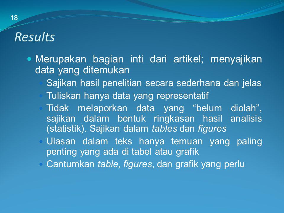 Results Merupakan bagian inti dari artikel; menyajikan data yang ditemukan Sajikan hasil penelitian secara sederhana dan jelas Tuliskan hanya data yan