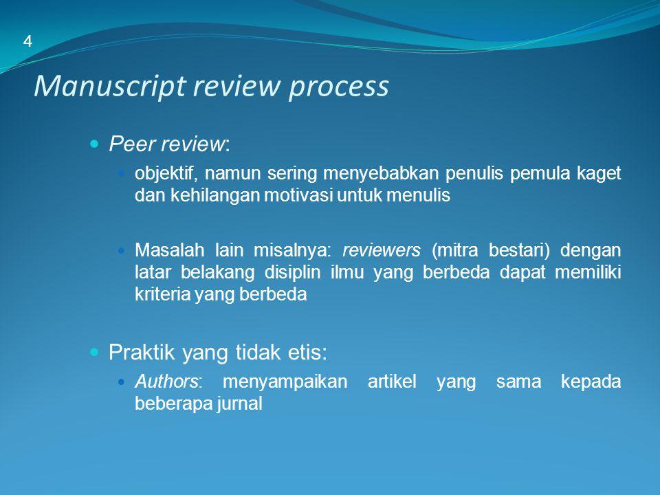 Manuscript review process Peer review: objektif, namun sering menyebabkan penulis pemula kaget dan kehilangan motivasi untuk menulis Masalah lain misa