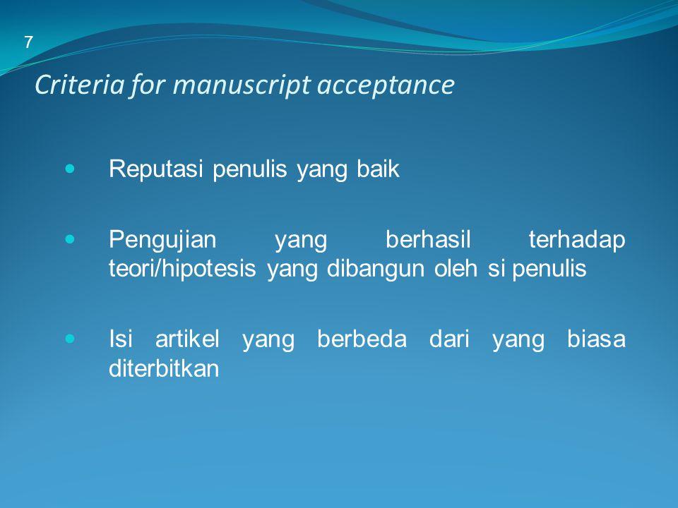 Criteria for manuscript acceptance Reputasi penulis yang baik Pengujian yang berhasil terhadap teori/hipotesis yang dibangun oleh si penulis Isi artik