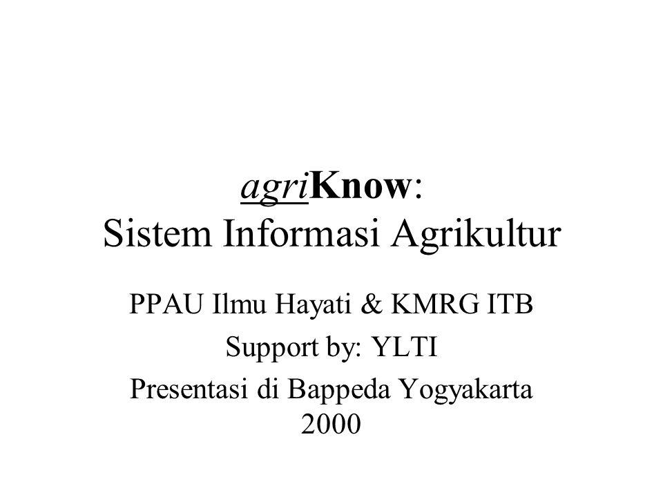 agriKnow: Sistem Informasi Agrikultur PPAU Ilmu Hayati & KMRG ITB Support by: YLTI Presentasi di Bappeda Yogyakarta 2000