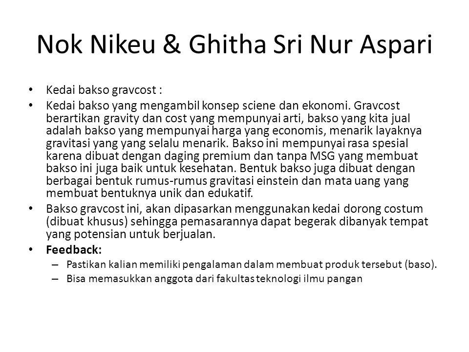 Nok Nikeu & Ghitha Sri Nur Aspari Kedai bakso gravcost : Kedai bakso yang mengambil konsep sciene dan ekonomi.