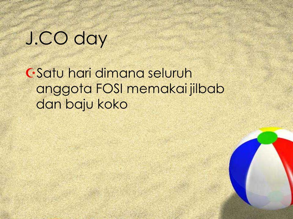 J.CO day ZSatu hari dimana seluruh anggota FOSI memakai jilbab dan baju koko