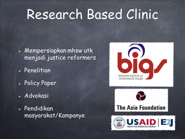 Research Based Clinic Mempersiapkan mhsw utk menjadi justice reformers Penelitian Policy Paper Advokasi Pendidikan masyarakat/Kampanye