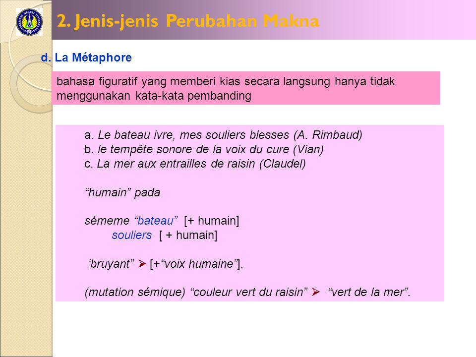 2. Jenis-jenis Perubahan Makna d. La Métaphore bahasa figuratif yang memberi kias secara langsung hanya tidak menggunakan kata-kata pembanding a. Le b
