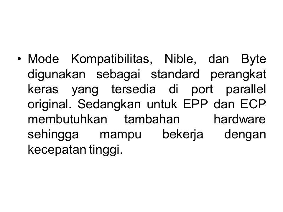 Mode Kompatibilitas, Nible, dan Byte digunakan sebagai standard perangkat keras yang tersedia di port parallel original. Sedangkan untuk EPP dan ECP m